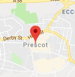 Cropped Google Map with pin over prescot