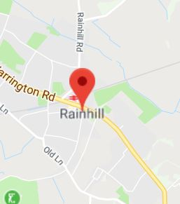 Cropped Google Map with pin over Rainhill