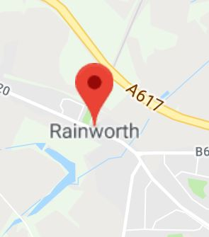 Cropped Google Map with pin over Rainworth