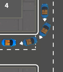reverse around the corner and stop