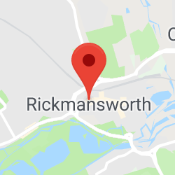 Cropped Google Map with pin over Rickmansworth