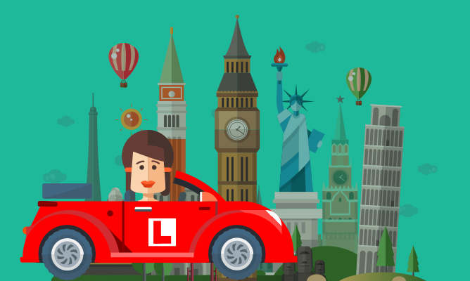 An illustration of learner driver taking a road trip.