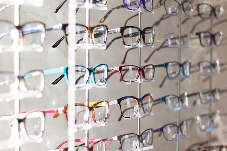 Rows of glasses in a opticians