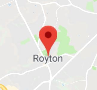 Cropped Google Map with pin over Royton