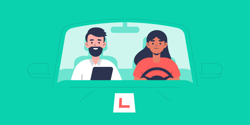 Illustration for a driving lesson with a semi-intensiive driving course