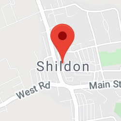 Cropped Google Map with pin over Shildon