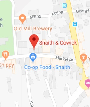 Cropped Google Map with pin over Snaith and Cowick