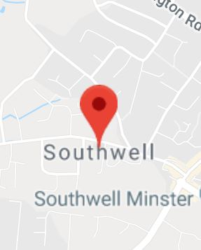 Cropped Google Map with pin over Southwell