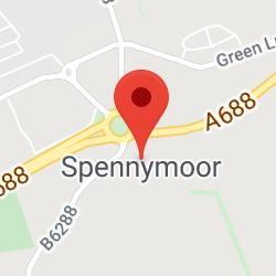 Cropped Google Map with pin over Spennymoor