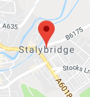 Cropped Google Map with pin over Stalybridge
