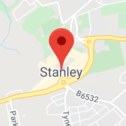 Cropped Google Map with pin over Stanley
