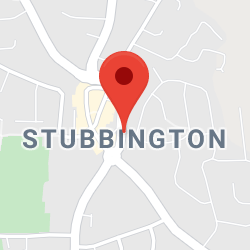 Cropped Google Map with pin over Stubbington