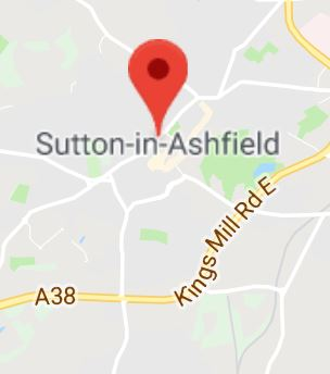 Cropped Google Map with pin over Sutton-in-Ashfield