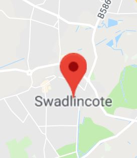 Cropped Google Map with pin over Swadlincote