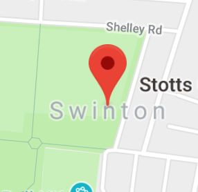 Cropped Google Map with pin over Swinton