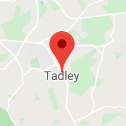 Cropped Google Map with pin over Tadley