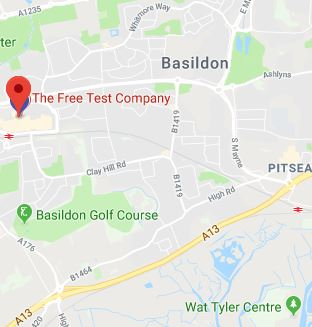 Cropped Google Map with pin over Basildon theory test centre