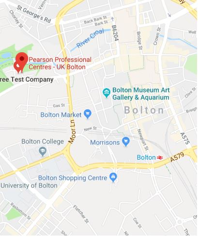 Cropped Google Map with pin over Bolton theory test centre