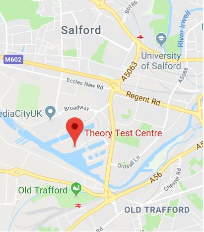 Cropped Google Map with pin over Salford theory test centre