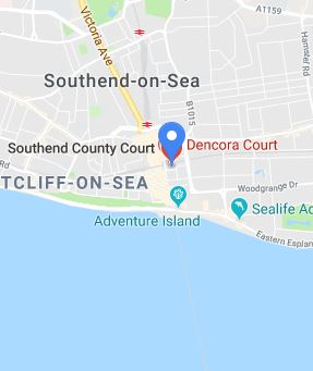 Cropped Google Map with pin over Southend-on-Sea theory test centre