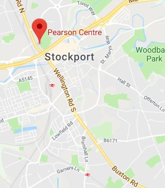Cropped Google Map with pin over Stockport theory test centre