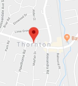 Cropped Google Map with pin over Thornton
