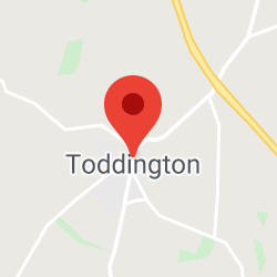 Cropped Google Map with pin over Toddington