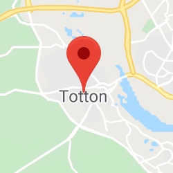 Cropped Google Map with pin over Totton