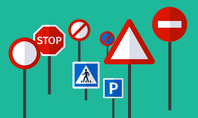 An illustration of some traffic signs.