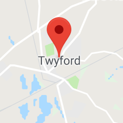 Cropped Google Map with pin over Twyford