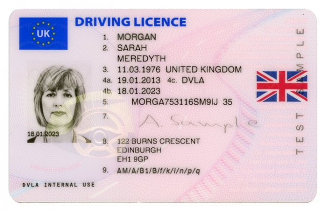Sample 2013-style UK photocard driving licence