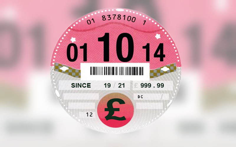 UK vehicle tax disc dated 01/10/14
