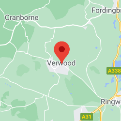 Cropped Google Map with pin over Verwood