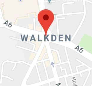 Cropped Google Map with pin over Walkden