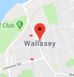 Cropped Google Map with pin over Wallasey