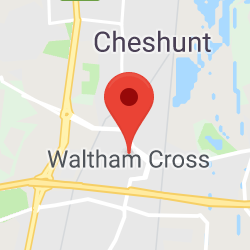 Cropped Google Map with pin over Waltham Cross