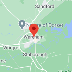 Cropped Google Map with pin over Wareham