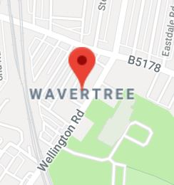 Cropped Google Map with pin over Wavertree