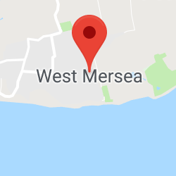 Cropped Google Map with pin over West Mersea