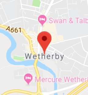 Cropped Google Map with pin over Wetherby
