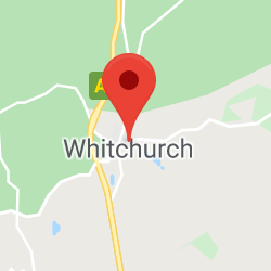 Cropped Google Map with pin over Whitchurch