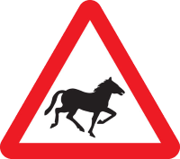 Wild horses or ponies warning sign