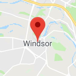 Cropped Google Map with pin over Windsor