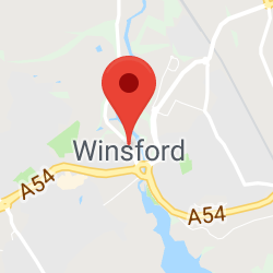 Cropped Google Map with pin over Winsford