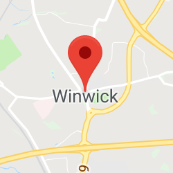 Cropped Google Map with pin over Winwick
