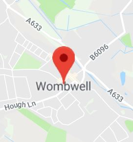 Cropped Google Map with pin over Wombwell