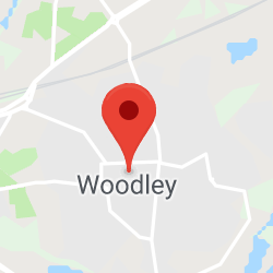 Cropped Google Map with pin over Woodley