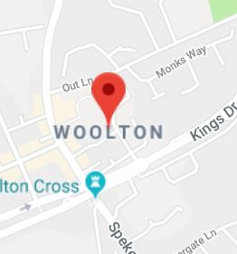 Cropped Google Map with pin over Woolton