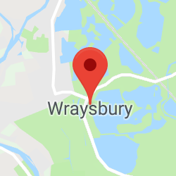 Cropped Google Map with pin over Wraysbury