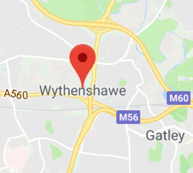 Cropped Google Map with pin over Wythenshawe
